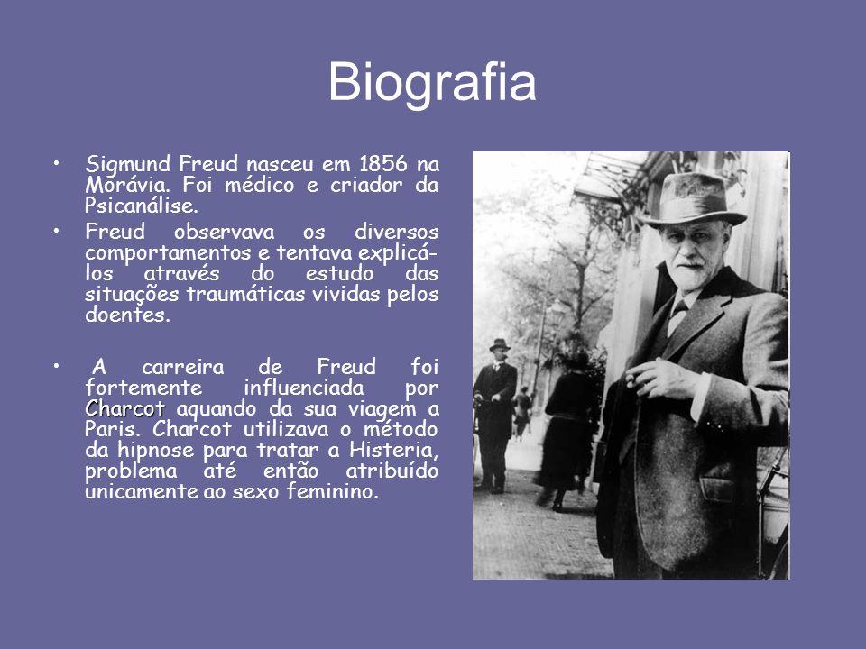 Biografia Sigmund Freud nasceu em 1856 na Morávia. Foi médico e criador da Psicanálise. Freud observava os diversos comportamentos e tentava explicá-