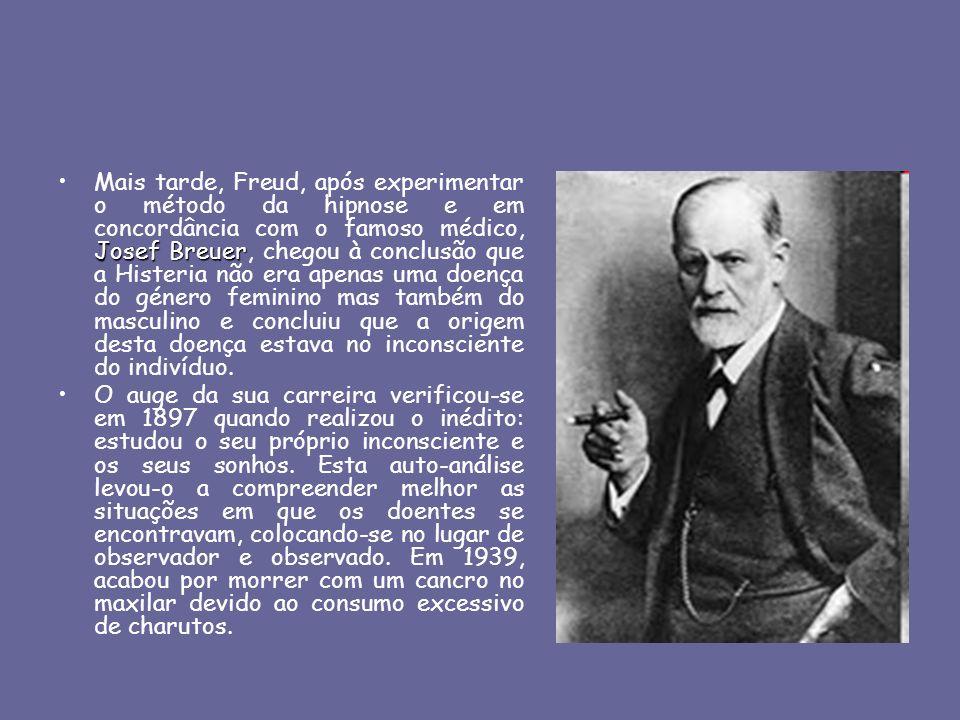OBJETO DE ESTUDO PARA FREUD: O INCONSCIENTE inconsciente inconsciente domina a nossa vida psíquica contém desejos sexuais e agressivos, sentimentos, impulsos, recalcamentos, ideias não podem ser trazidas voluntariamente à consciência.Freud deu uma grande contribuição para o objecto de estudo da psicologia pois, embora não tenha sido o primeiro a falar do inconsciente, foi o primeiro psicólogo a afirmar que o inconsciente tem um papel mais influente na nossa vida psíquica que o consciente, referindo que A consciência é apenas a ponta do Iceberg.