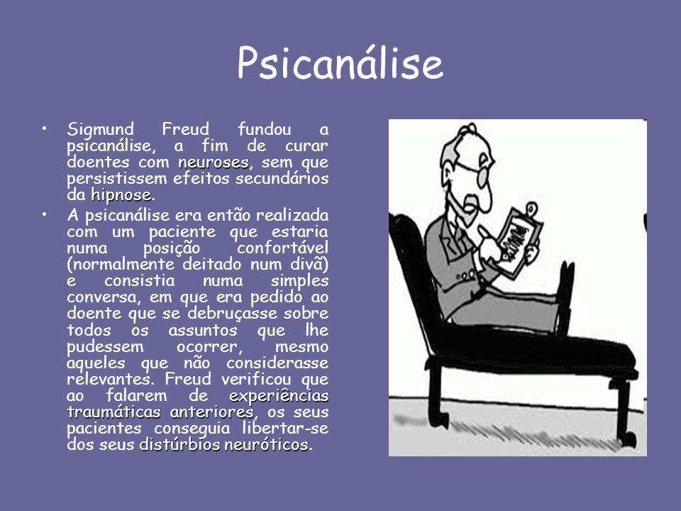 Psicanálise neuroses hipnoseSigmund Freud fundou a psicanálise, a fim de curar doentes com neuroses, sem que persistissem efeitos secundários da hipno