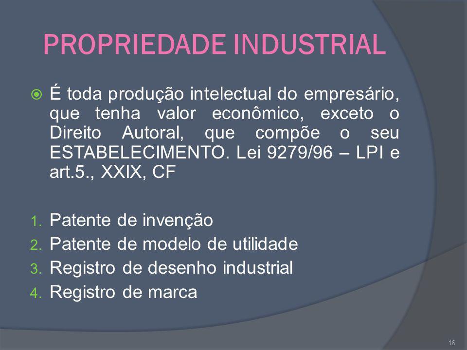 PROPRIEDADE INDUSTRIAL É toda produção intelectual do empresário, que tenha valor econômico, exceto o Direito Autoral, que compõe o seu ESTABELECIMENT