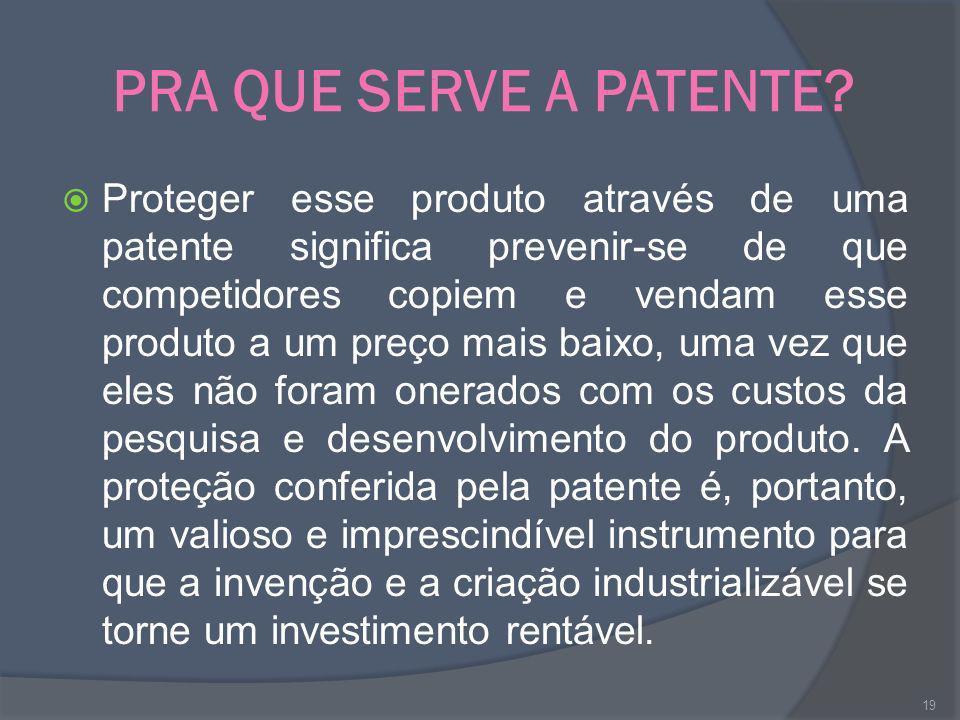 PRA QUE SERVE A PATENTE? Proteger esse produto através de uma patente significa prevenir-se de que competidores copiem e vendam esse produto a um preç