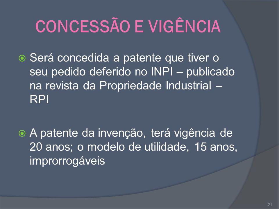 CONCESSÃO E VIGÊNCIA Será concedida a patente que tiver o seu pedido deferido no INPI – publicado na revista da Propriedade Industrial – RPI A patente