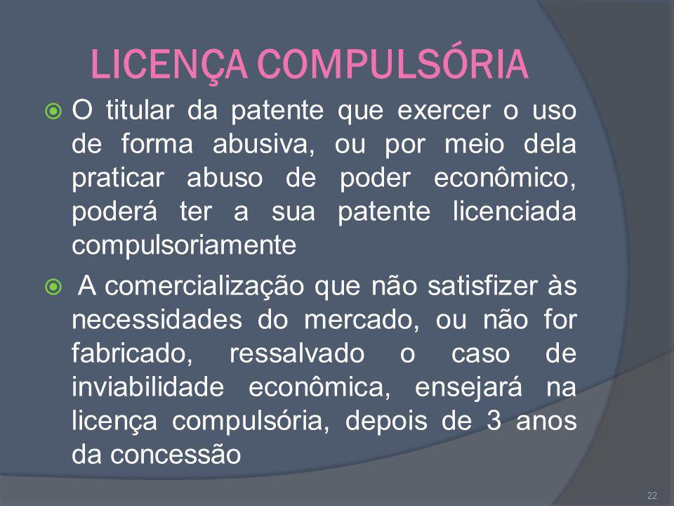 LICENÇA COMPULSÓRIA O titular da patente que exercer o uso de forma abusiva, ou por meio dela praticar abuso de poder econômico, poderá ter a sua pate