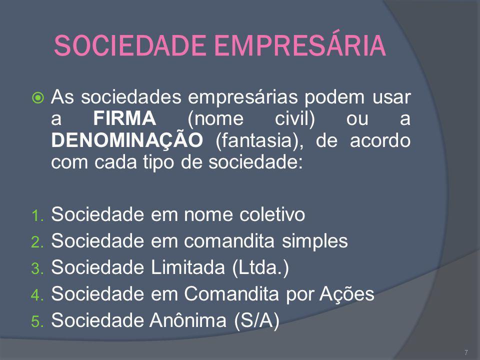 SOCIEDADE EMPRESÁRIA As sociedades empresárias podem usar a FIRMA (nome civil) ou a DENOMINAÇÃO (fantasia), de acordo com cada tipo de sociedade: 1. S
