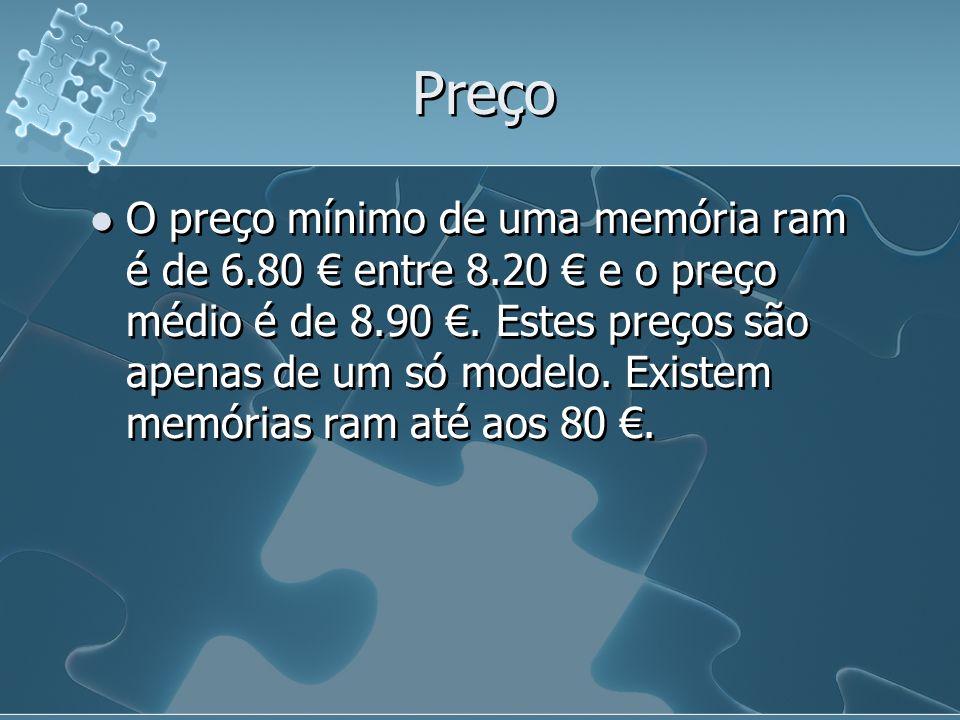 Preço O preço mínimo de uma memória ram é de 6.80 entre 8.20 e o preço médio é de 8.90. Estes preços são apenas de um só modelo. Existem memórias ram