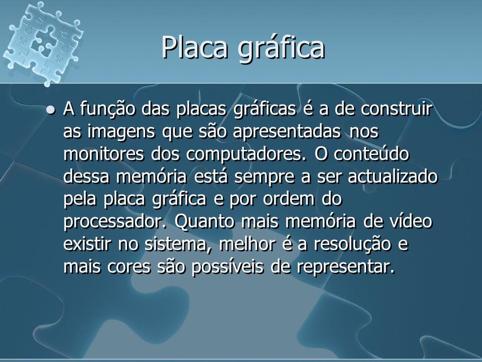 Placa gráfica A função das placas gráficas é a de construir as imagens que são apresentadas nos monitores dos computadores. O conteúdo dessa memória e