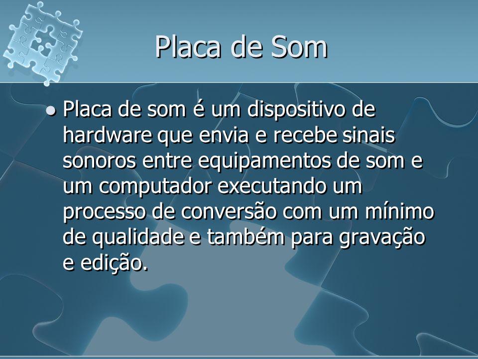 Placa de Som Placa de som é um dispositivo de hardware que envia e recebe sinais sonoros entre equipamentos de som e um computador executando um proce
