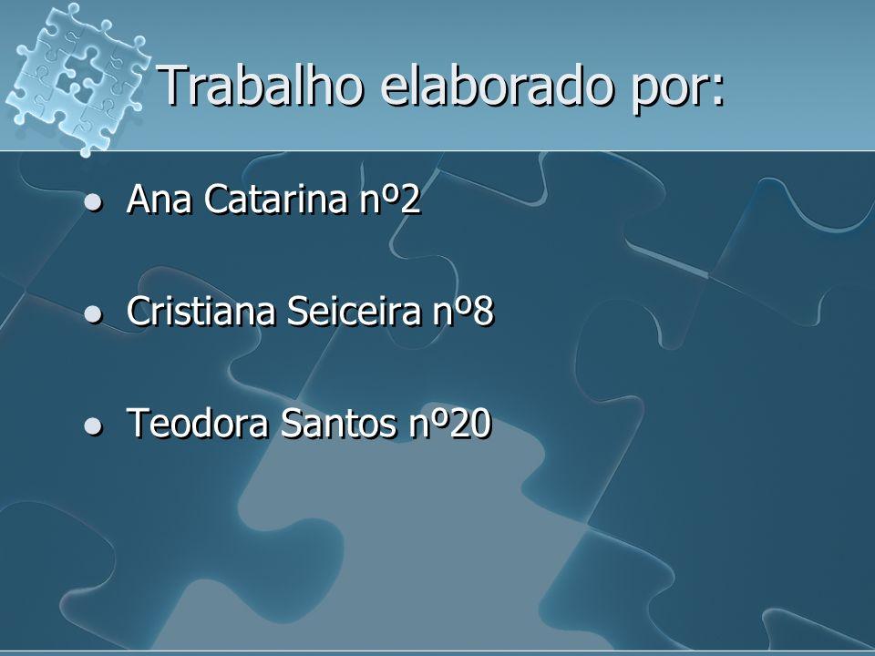 Trabalho elaborado por: Ana Catarina nº2 Cristiana Seiceira nº8 Teodora Santos nº20 Ana Catarina nº2 Cristiana Seiceira nº8 Teodora Santos nº20