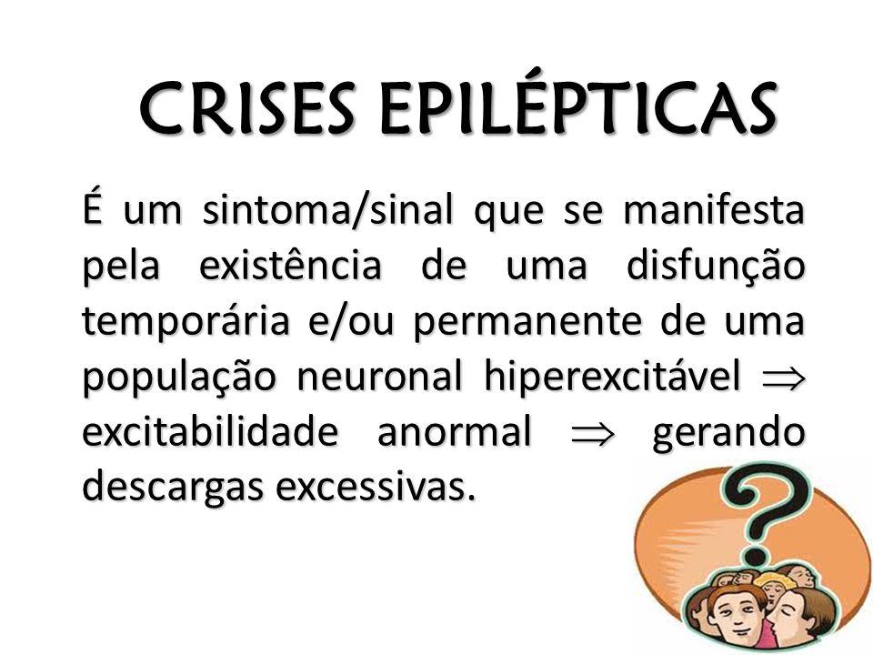 CRISES EPILÉPTICAS É um sintoma/sinal que se manifesta pela existência de uma disfunção temporária e/ou permanente de uma população neuronal hiperexci