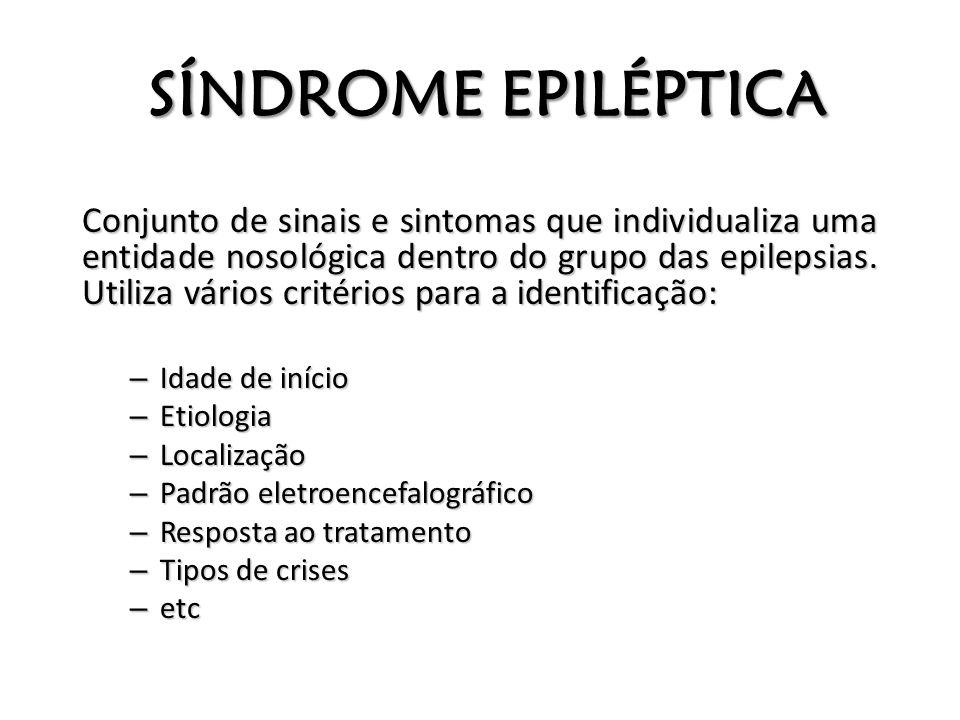 SÍNDROME EPILÉPTICA Conjunto de sinais e sintomas que individualiza uma entidade nosológica dentro do grupo das epilepsias. Utiliza vários critérios p