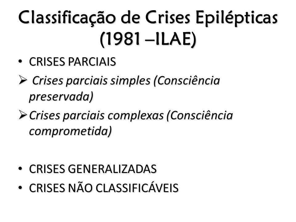 Classificação de Crises Epilépticas (1981 –ILAE) CRISES PARCIAIS CRISES PARCIAIS Crises parciais simples (Consciência preservada) Crises parciais simp