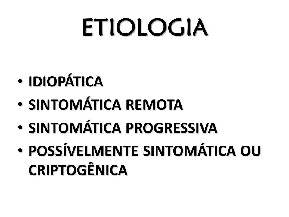 ETIOLOGIA IDIOPÁTICA IDIOPÁTICA SINTOMÁTICA REMOTA SINTOMÁTICA REMOTA SINTOMÁTICA PROGRESSIVA SINTOMÁTICA PROGRESSIVA POSSÍVELMENTE SINTOMÁTICA OU CRI