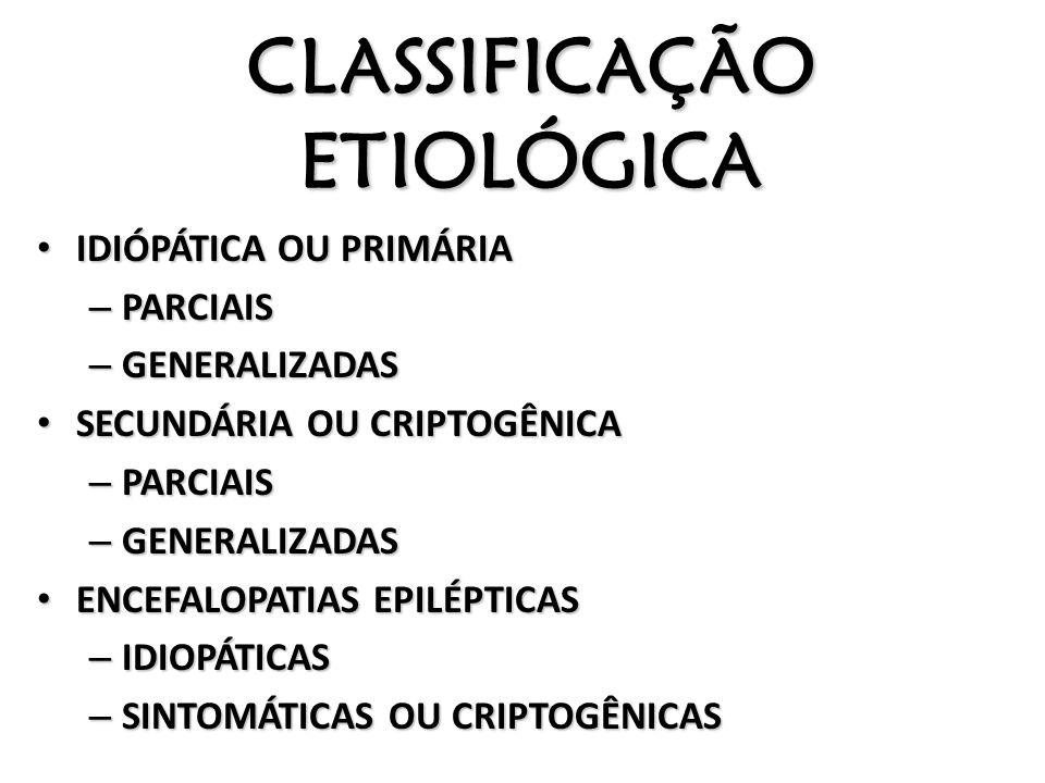 CLASSIFICAÇÃO ETIOLÓGICA IDIÓPÁTICA OU PRIMÁRIA IDIÓPÁTICA OU PRIMÁRIA – PARCIAIS – GENERALIZADAS SECUNDÁRIA OU CRIPTOGÊNICA SECUNDÁRIA OU CRIPTOGÊNIC