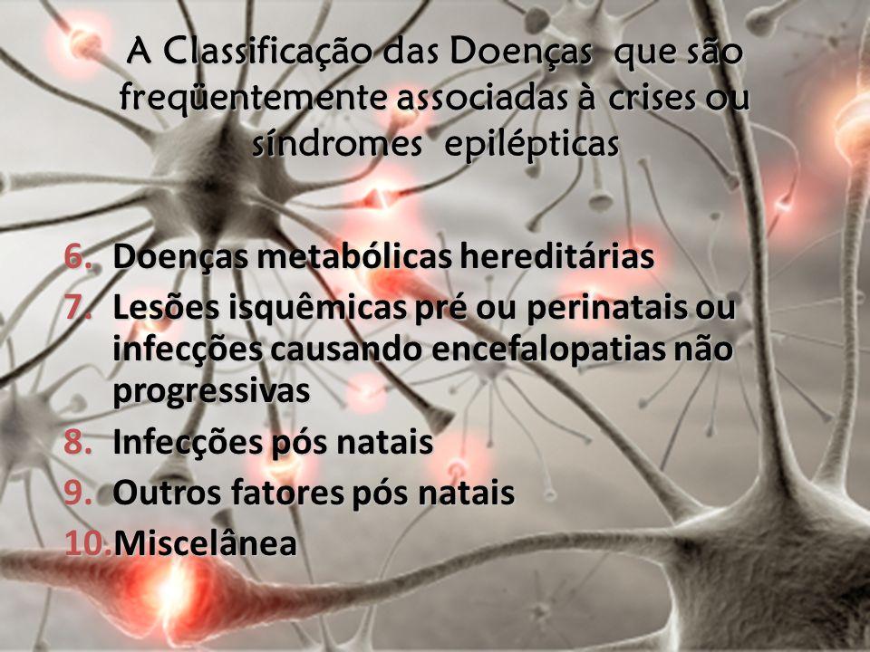 6.Doenças metabólicas hereditárias 7.Lesões isquêmicas pré ou perinatais ou infecções causando encefalopatias não progressivas 8.Infecções pós natais