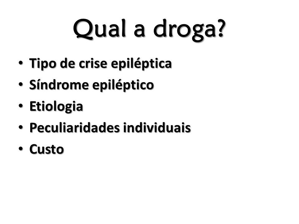 Qual a droga? Tipo de crise epiléptica Tipo de crise epiléptica Síndrome epiléptico Síndrome epiléptico Etiologia Etiologia Peculiaridades individuais