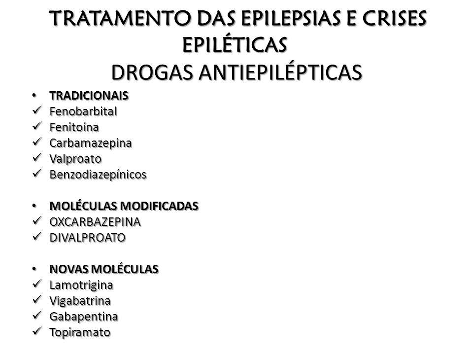 TRATAMENTO DAS EPILEPSIAS E CRISES EPILÉTICAS DROGAS ANTIEPILÉPTICAS TRADICIONAIS TRADICIONAIS Fenobarbital Fenobarbital Fenitoína Fenitoína Carbamaze