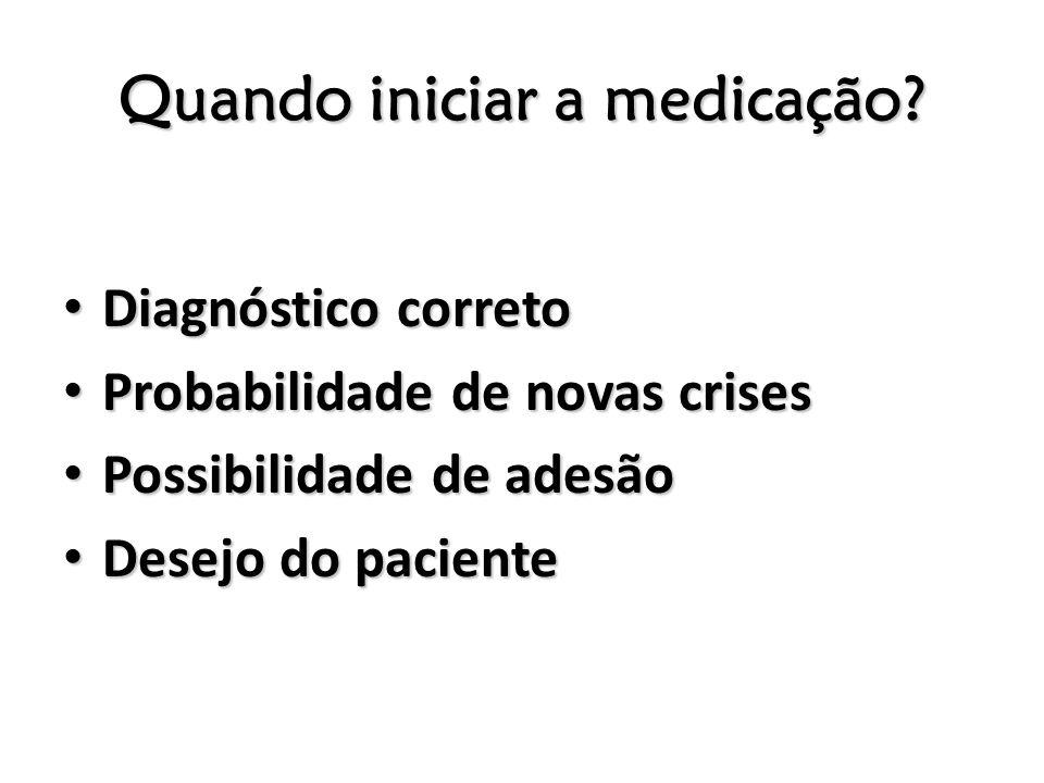 Quando iniciar a medicação? Diagnóstico correto Diagnóstico correto Probabilidade de novas crises Probabilidade de novas crises Possibilidade de adesã