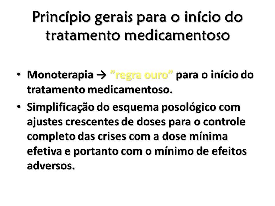 Princípio gerais para o início do tratamento medicamentoso Monoterapia regra ouro para o início do tratamento medicamentoso. Monoterapia regra ouro pa