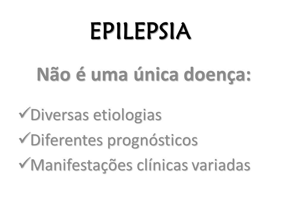 EPILEPSIA Não é uma única doença: Diversas etiologias Diversas etiologias Diferentes prognósticos Diferentes prognósticos Manifestações clínicas varia