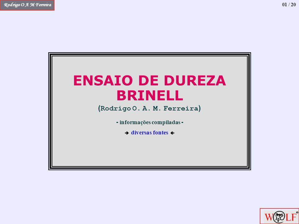 Rodrigo O A M Ferreira ENSAIO DE DUREZA BRINELL ( Rodrigo O. A. M. Ferreira ) - informações compiladas - diversas fontes 01 / 20
