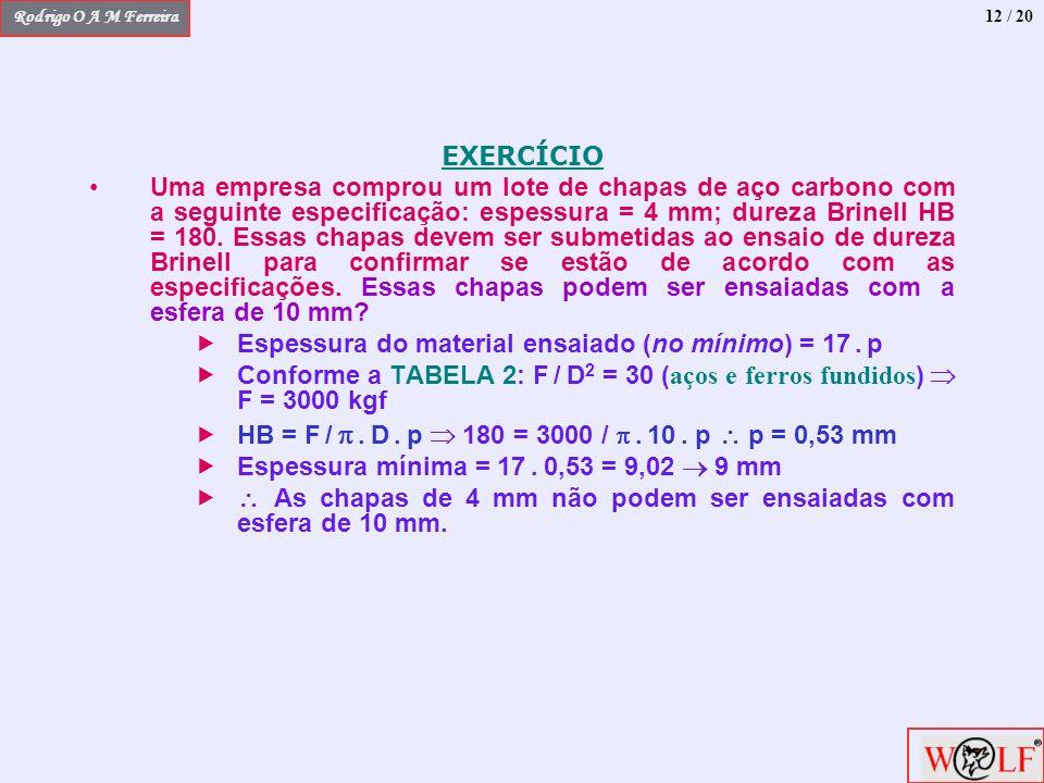 Rodrigo O A M Ferreira EXERCÍCIO Uma empresa comprou um lote de chapas de aço carbono com a seguinte especificação: espessura = 4 mm; dureza Brinell H