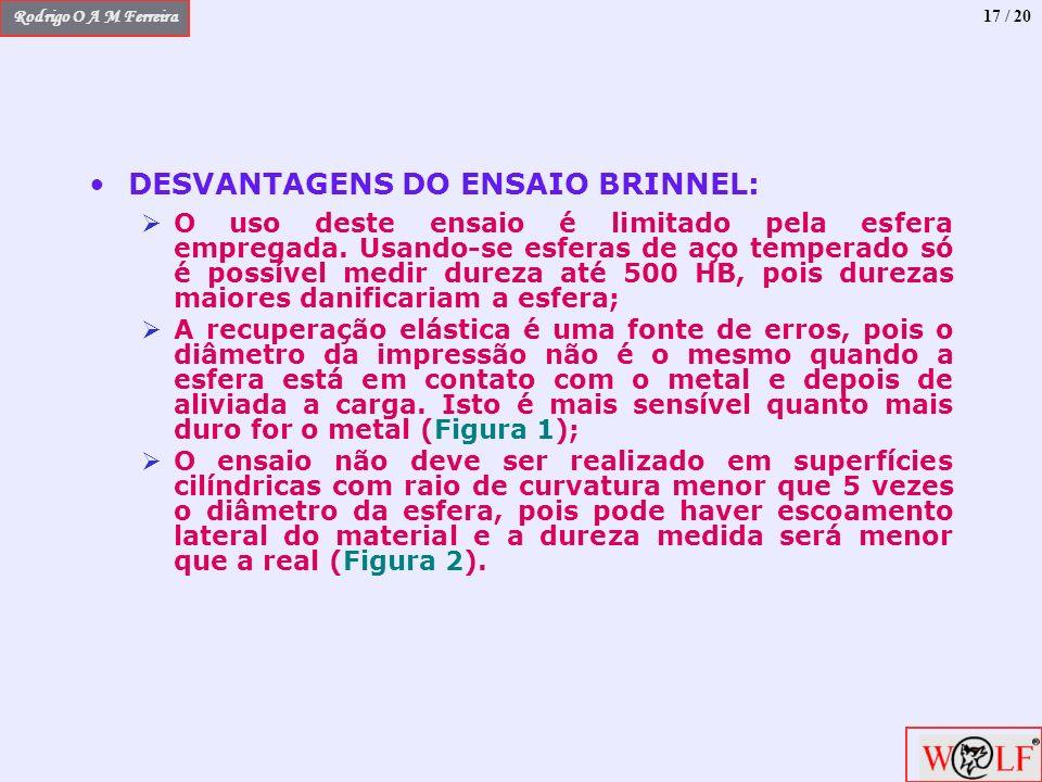 Rodrigo O A M Ferreira 17 / 20 DESVANTAGENS DO ENSAIO BRINNEL: O uso deste ensaio é limitado pela esfera empregada. Usando-se esferas de aço temperado