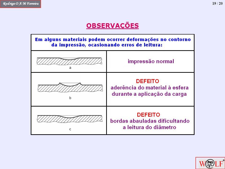 Rodrigo O A M Ferreira 19 / 20 OBSERVAÇÕES