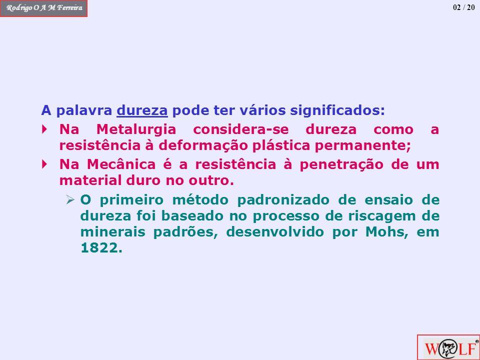 Rodrigo O A M Ferreira A palavra dureza pode ter vários significados: Na Metalurgia considera-se dureza como a resistência à deformação plástica perma