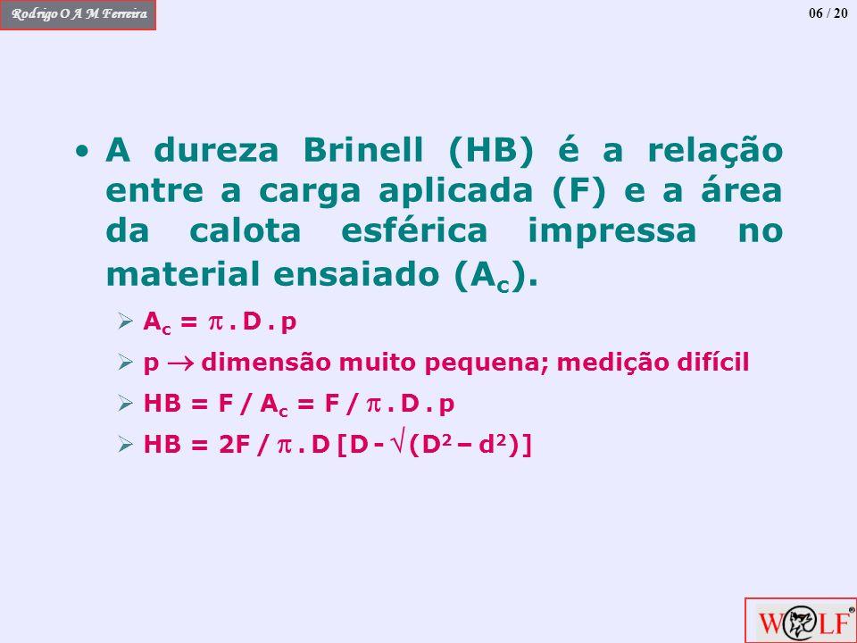 Rodrigo O A M Ferreira 06 / 20 A dureza Brinell (HB) é a relação entre a carga aplicada (F) e a área da calota esférica impressa no material ensaiado