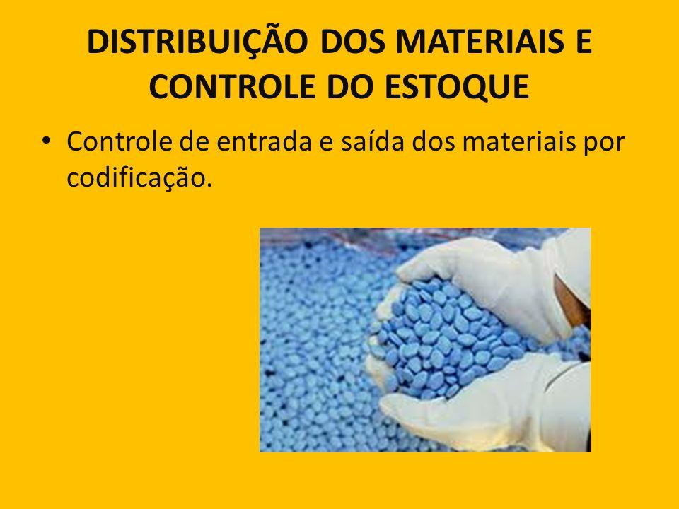 DISTRIBUIÇÃO DOS MATERIAIS E CONTROLE DO ESTOQUE Controle de entrada e saída dos materiais por codificação.
