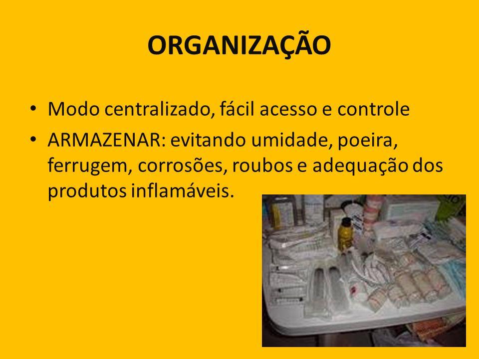ORGANIZAÇÃO Modo centralizado, fácil acesso e controle ARMAZENAR: evitando umidade, poeira, ferrugem, corrosões, roubos e adequação dos produtos infla