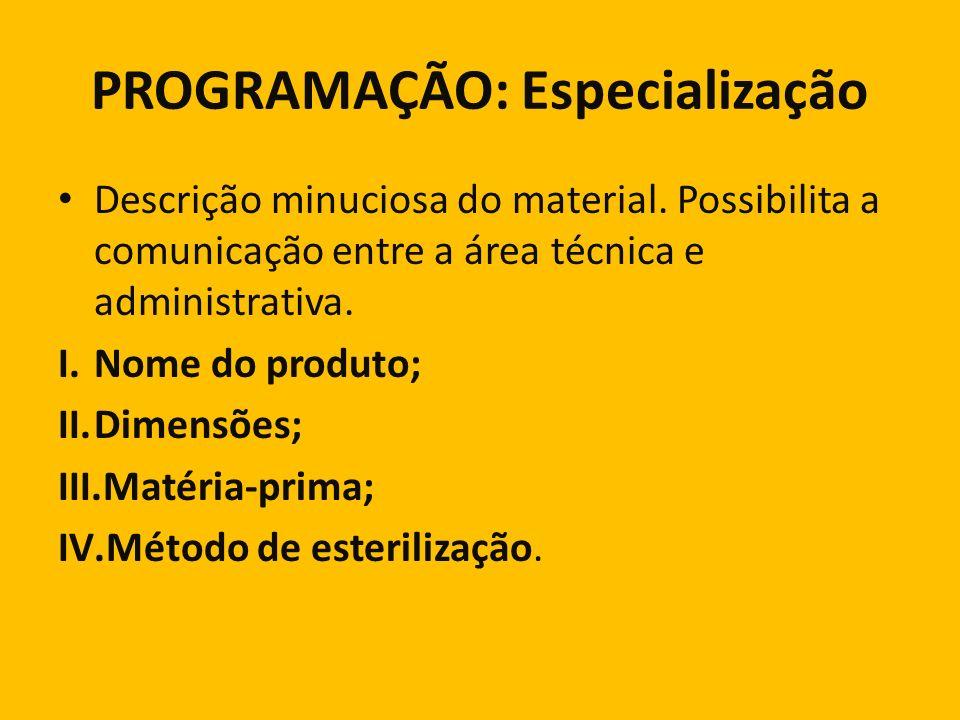 PROGRAMAÇÃO: Especialização Descrição minuciosa do material. Possibilita a comunicação entre a área técnica e administrativa. I.Nome do produto; II.Di