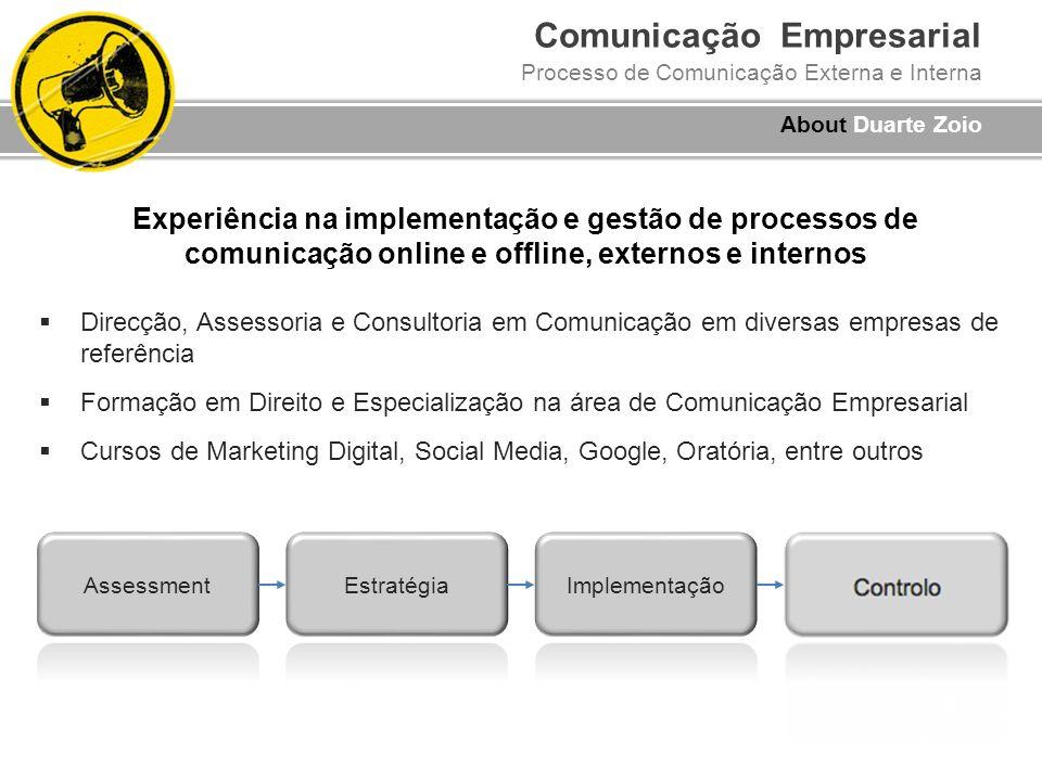 Comunicação Empresarial Processo de Comunicação Externa e Interna Experiência na implementação e gestão de processos de comunicação online e offline,