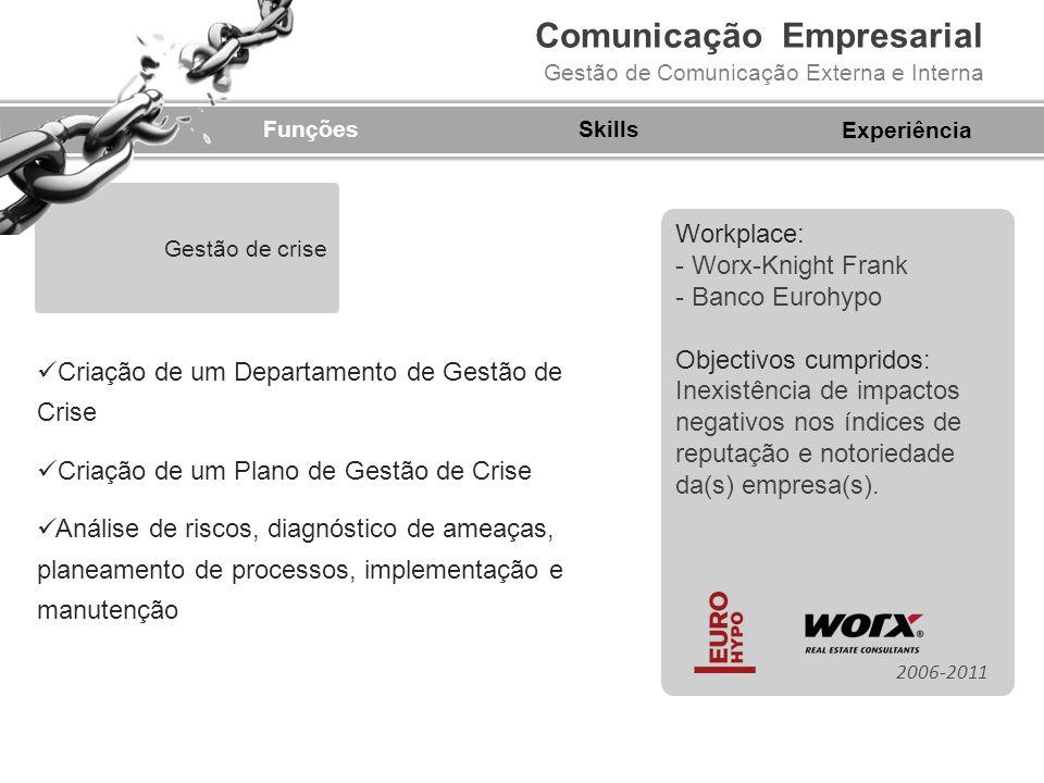 Comunicação Empresarial Gestão de Comunicação Externa e Interna FunçõesSkills Criação de um Departamento de Gestão de Crise Criação de um Plano de Ges