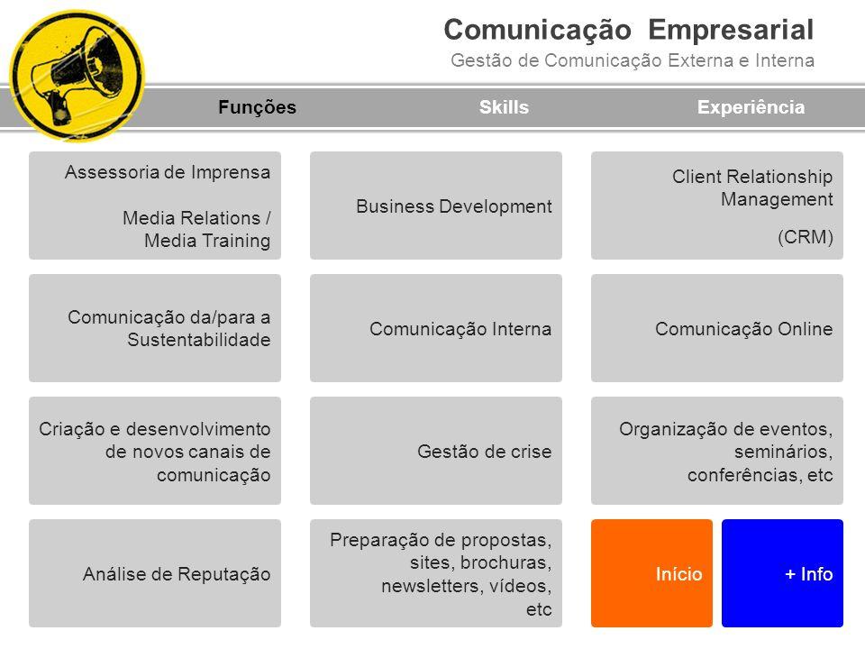 Comunicação Empresarial Gestão de Comunicação Externa e Interna FunçõesSkillsExperiência Análise de Reputação Organização de eventos, seminários, conf