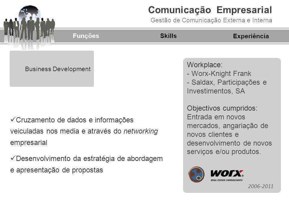 Comunicação Empresarial Gestão de Comunicação Externa e Interna Business Development FunçõesSkills Cruzamento de dados e informações veiculadas nos me