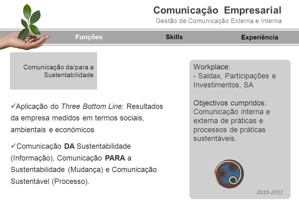 Comunicação Empresarial Gestão de Comunicação Externa e Interna Workplace: - Saldax, Participações e Investimentos, SA Objectivos cumpridos: Comunicaç