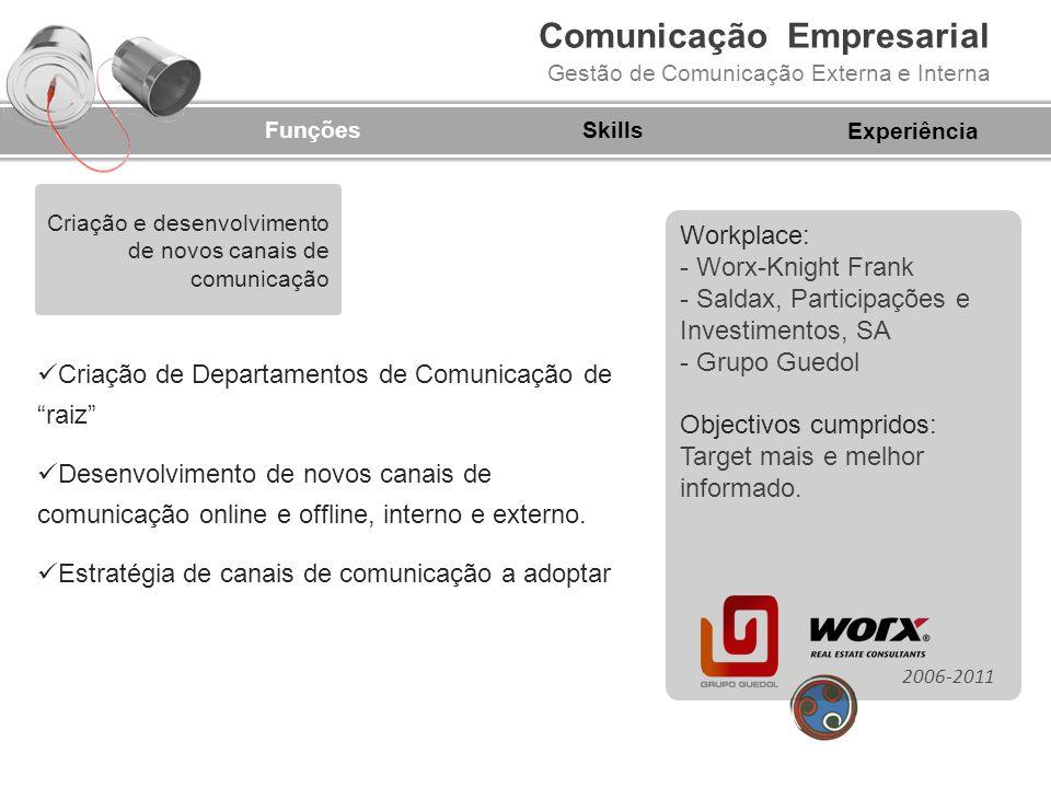 Comunicação Empresarial Gestão de Comunicação Externa e Interna FunçõesSkills Criação de um Departamento de Gestão de Crise Criação de um Plano de Gestão de Crise Análise de riscos, diagnóstico de ameaças, planeamento de processos, implementação e manutenção 2006-2011 Experiência Gestão de crise Workplace: - Worx-Knight Frank - Banco Eurohypo Objectivos cumpridos: Inexistência de impactos negativos nos índices de reputação e notoriedade da(s) empresa(s).