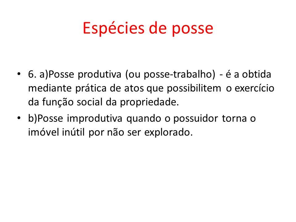 Espécies de posse 6. a)Posse produtiva (ou posse-trabalho) - é a obtida mediante prática de atos que possibilitem o exercício da função social da prop