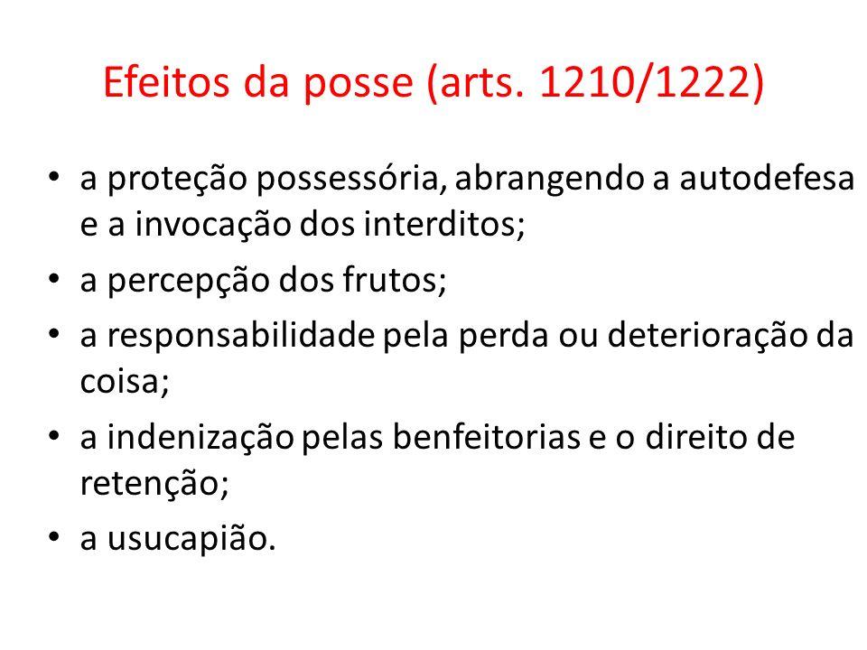Efeitos da posse (arts. 1210/1222) a proteção possessória, abrangendo a autodefesa e a invocação dos interditos; a percepção dos frutos; a responsabil