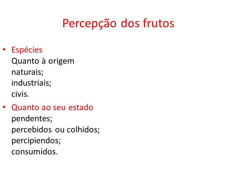 Percepção dos frutos Espécies Quanto à origem naturais; industriais; civis. Quanto ao seu estado pendentes; percebidos ou colhidos; percipiendos; cons