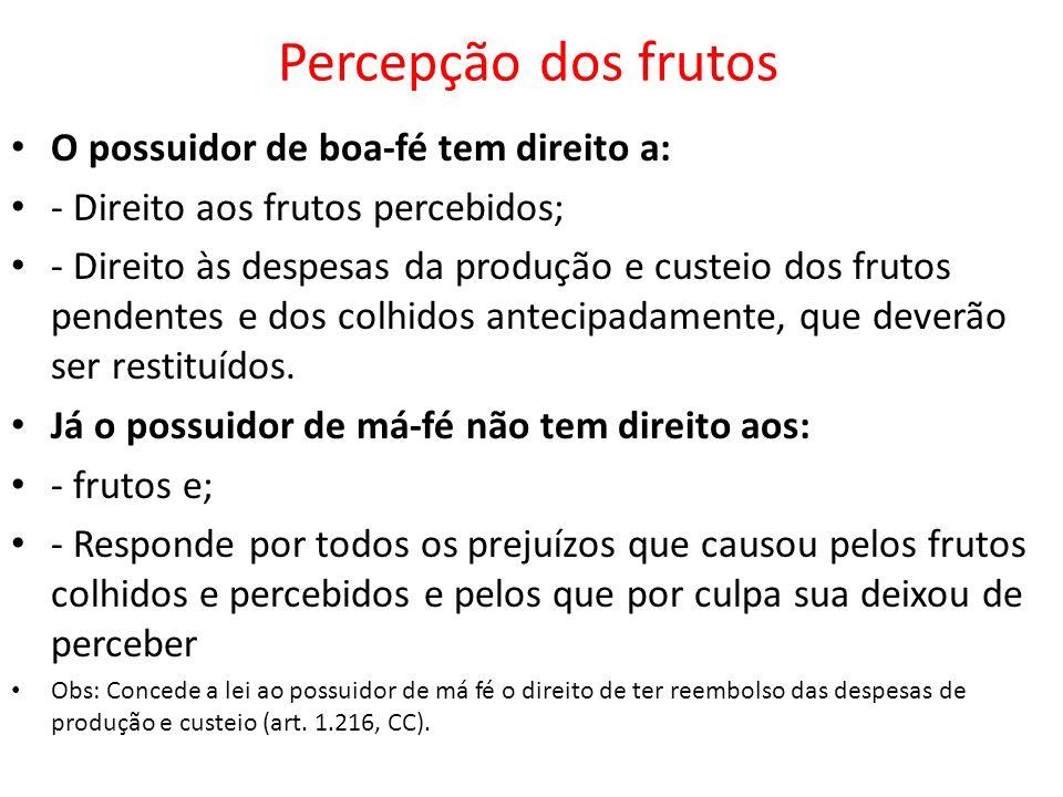 Percepção dos frutos O possuidor de boa-fé tem direito a: - Direito aos frutos percebidos; - Direito às despesas da produção e custeio dos frutos pend