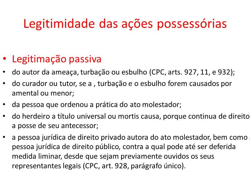 Legitimidade das ações possessórias Legitimação passiva do autor da ameaça, turbação ou esbulho (CPC, arts. 927, 11, e 932); do curador ou tutor, se a