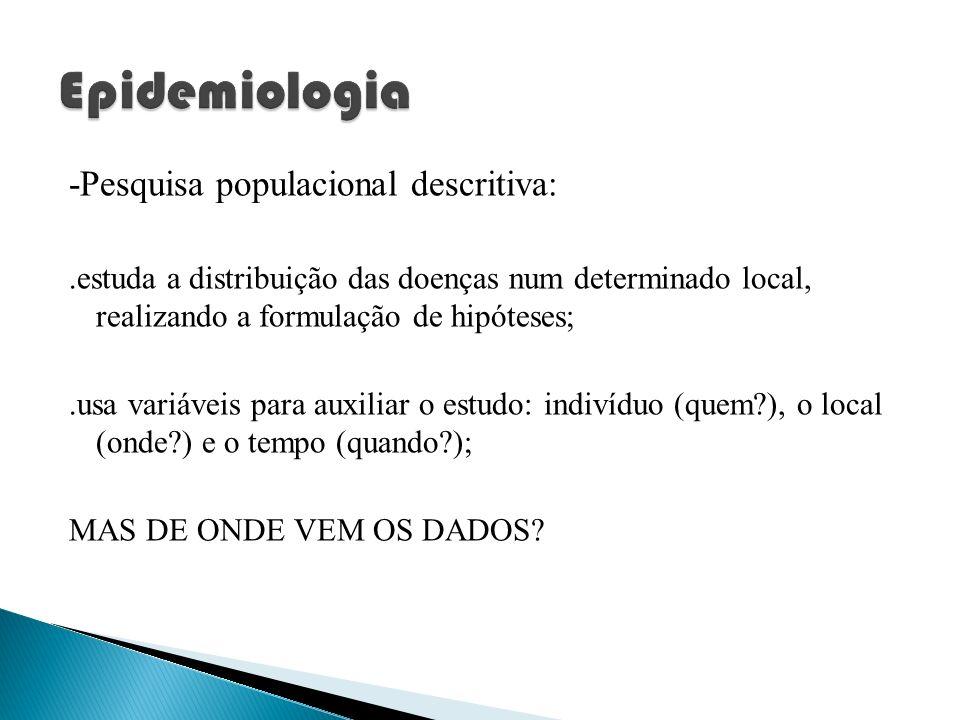 -Pesquisa populacional descritiva:.estuda a distribuição das doenças num determinado local, realizando a formulação de hipóteses;.usa variáveis para a
