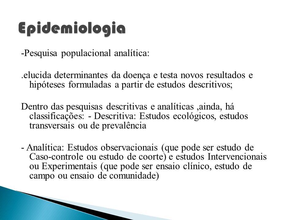 -Pesquisa populacional analítica:.elucida determinantes da doença e testa novos resultados e hipóteses formuladas a partir de estudos descritivos; Den
