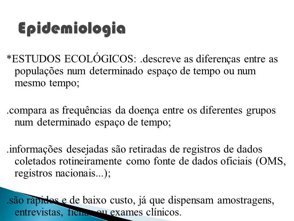*ESTUDOS ECOLÓGICOS:.descreve as diferenças entre as populações num determinado espaço de tempo ou num mesmo tempo;.compara as frequências da doença e
