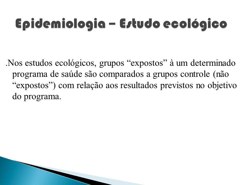.Nos estudos ecológicos, grupos expostos à um determinado programa de saúde são comparados a grupos controle (não expostos) com relação aos resultados