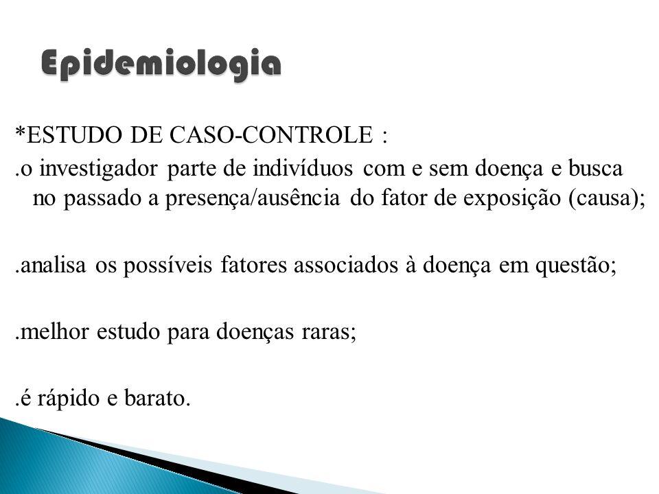 *ESTUDO DE CASO-CONTROLE :.o investigador parte de indivíduos com e sem doença e busca no passado a presença/ausência do fator de exposição (causa);.a
