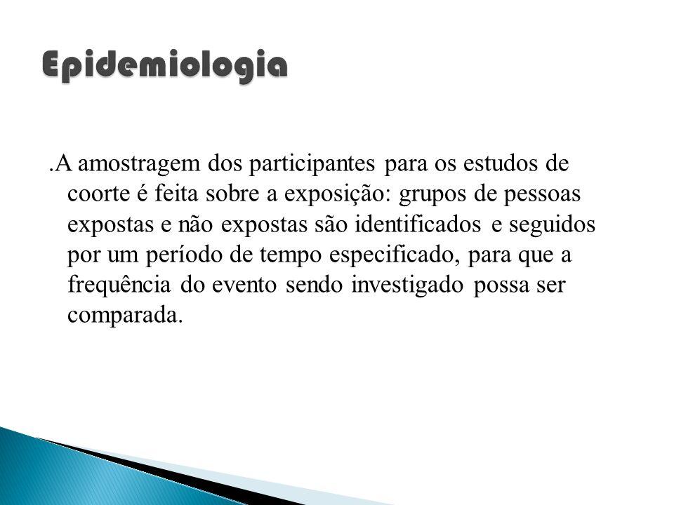 .A amostragem dos participantes para os estudos de coorte é feita sobre a exposição: grupos de pessoas expostas e não expostas são identificados e seg
