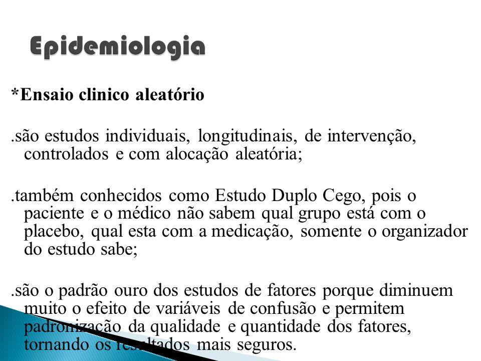 *Ensaio clinico aleatório.são estudos individuais, longitudinais, de intervenção, controlados e com alocação aleatória;.também conhecidos como Estudo